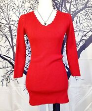 Womans BRICK RED Scallop Edged Collar Sweater STRETCH Shirt TUNIC Top size Small