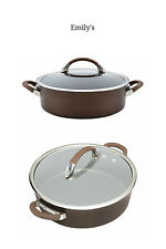 CIRCULON Covered Saute Pan 5 Qt Symmetry Hard Anodized Nonstick Chocolate Brown