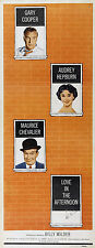 LOVE IN THE AFTERNOON Movie POSTER 14x36 Insert Gary Cooper Audrey Hepburn John
