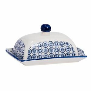 Hand Printed Butter Dish Ceramic Spread Container Plate with Lid 18.5cm Navy