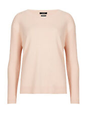 M & S AUTOGRAPH LADIES CASHMERE RICH RIBBED SLEEVE PALE PEACH JUMPER WITH SILK
