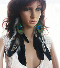 43A-6 black peacock Natural Feather Earrings Jewelry 1 pair GR