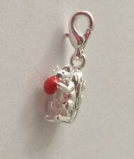 SILVER SQUIRRELL HOLDING NUT  CLIP-ON CHARM FOR BRACELETS- 3D - 925 SILVER PLATE