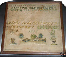 AMERICAN 1828 SAMPLER W/SQUIRREL HOUSE AND URN