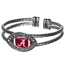 Alabama Crimson Tide  rhinestone football silver braided  bracelet