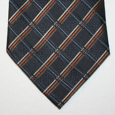 NEW Valerio Garati Silk Neck Tie Black w Brown Orange Beige & Blue Plaids 1435