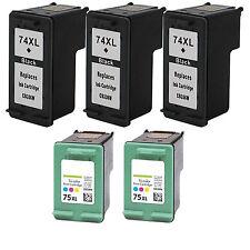 5 Pack (3B+2C) Ink Fits HP 74XL 75XL OfficeJet J6415 J6424 J6450 J6480 J6480