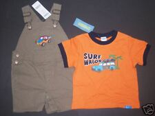 NWT Gymboree Surf Camp Orange Woody Wagon Tee Khaki Overall Shorts 12-18 Months
