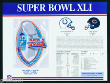SUPER BOWL 41 ~ COLTS vs BEARS ~ Willabee & Ward OFFICIAL NFL SB XLI PATCH CARD