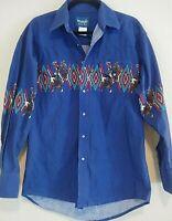 Vintage Wrangler Men's Royal Blue Pearl Snap Bull Riding Large Western Shirt
