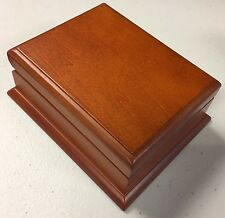 Pecan Wood Finish Executive Playing Card Box for 1 Poker or Bridge Size Deck New