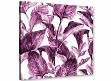 Plum Aubergine White Tropical Leaves Canvas Wall Art - 79cm Square - 1s319l