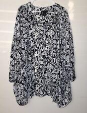 Lane Bryant Womens 22/24 Black & Wht Floral Flowing Kimono Top Sweater Cardigan