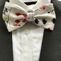 Playing Cards White Bow Tie Casino Poker Vegas Fancy Dress Costume Accessory