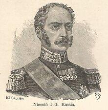 A7601 Niccolò I di Russia - Xilografia - Stampa Antica del 1928