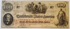 1862 $100 Confederate States of America CSA Paper Currency Note T-41 VF/XF