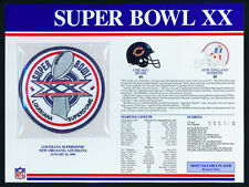 SUPER BOWL 20 ~ BEARS / PATRIOTS ~ Willabee & Ward OFFICIAL NFL SB XX PATCH CARD