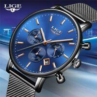 Reloj De Hombre Cuarzo Moda Lujo Casual SUPER Delgado Malla De Acero Impermeable