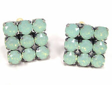 SoHo® Ohrclips quadrat geschliffene Kristalle chrysolite opal grün türkis meer