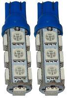 2x ampoule T10 W5W 12V 13LED SMD bleu veilleuses éclairage intérieur coffre