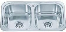 Stainless Steel Double 2.0 Two Bowl Inset Kitchen Sink Utility Room D23