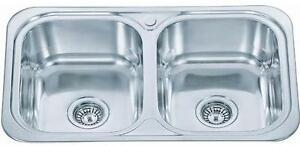 765 x 480mm Polished Inset 2.0 Bowl Stainless Steel Kitchen Sink (D23)