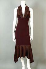 Yigal Azrouel 2 Brown Full Length Long Gown Sheath Dress Silk Mermaid Red Carpet