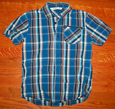 Boys OLD NAVY Blue Brown Orange Cotton Plaid Button Down Collar Shirt Medium 8