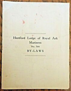 Masonic Masons Book By Laws Hertford Lodge Royal Ark Mariners No 366 1940's