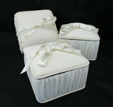 "Lot 3 Gift Boxes Silk Look Cream Fabric Covered Ribbon Hearts Trinkets 4.5"" Euc"