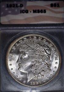 1921-D Morgan Silver Dollar, ICG MS65 , Hard To Find Gem Grade, Issue Free