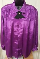 Impressions Womens Purple Design Button Down Shirt Top Blouse Size 42 1X OR 2X