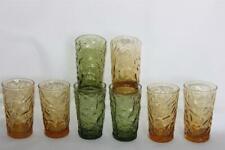 "8 Vintage Libbey Embossed Crinkle 4"" Amber Olive Green 3-7/8"" Juice Glasses EXC"