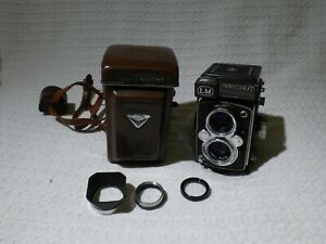 Vintage Yashica-Mat LM TLR Camera + Case + Hood + Filter Set
