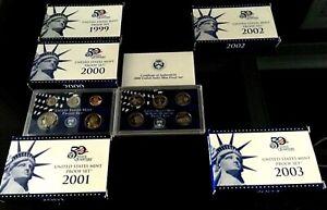 5 item offer: 1999-2003 S US Mint Proof Set, 9-10 coins each, original box & CoA