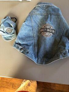 Harley-Davidson  Canine Pet Denim Jean Jacket With Matching Hat  Sz M