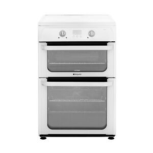 Hotpoint Freestanding HUI612P 60cm Electric Cooker & Induction Hob - White