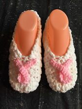 NWOT Womens Handmade White With Pink Breast Cancer Ribbon Crochet Slippers Sz6-7