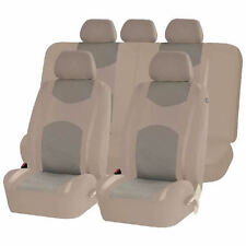 ALL BEIGE HONEYCOMB MESH AIRBAG READY SPLIT BENCH SEAT COVERS SET FOR CARS 1243