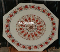 "15"" White Marble Top Coffee Table Inlay Carnelian Floral Marquetry Decor H3116"