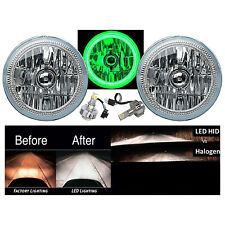 "7"" COB LED Green Halo Angel Eye Headlights 6000K LED Light Bulbs Headlamp Pair"