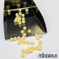 [WHOLESALE] YELLOW LAB CREATED OPAL LOOSE ROUND BEADS FULL DRILL VARIOUS SIZES