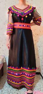 Ancienne robe femme ethnique kabyle Algérie en tulle,soie,ruban en laine berbère