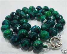 """10mm AZURITE Faceted Round Beads GEMSTONE Necklace 18"""""""