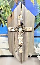 NATURAL SEA SHELL CROSS ON LIGHT WEIGHT GREY RECLAIMED UP-CYCLED WOODEN PLAQUE
