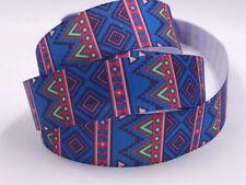 DIY 5 Yard 1'' 25MM Blue pattern Printed Grosgrain Ribbon Hair Bow Sewing Ribbon