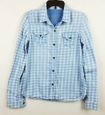 Bullhead Black Medium Plaid Blue Button Front Longsleeve Top