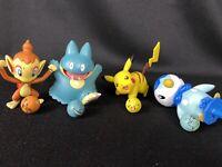 2007 Jakks Pokémon Figures Pikachu Cimchar, Munchlax, Piplup on Perch w/ Marbles