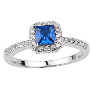 925 Sterling Silver Women's Wedding Ring 4.5mm Princess Cut CZ Jewelry