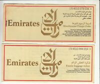 UAE EMIRATES AIRWAYS LOT OF 2 PASSENGER TICKET AND BAGGAGE CHECK